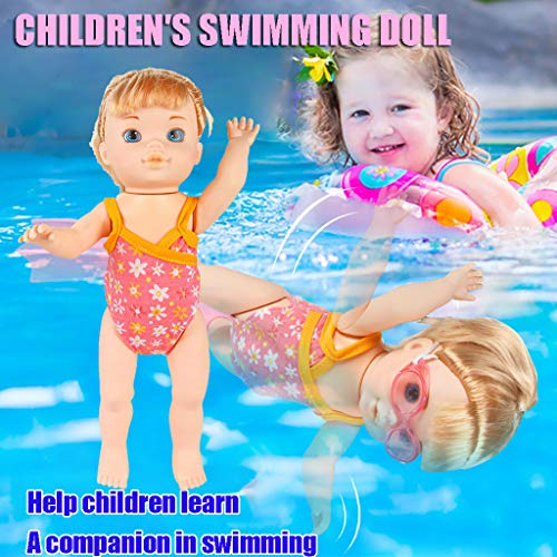 Wenjuan Water Fun Electric Doll Waterproof Swimming Doll ,Baby Bath Toy Water Fun Bathtub Swimming Doll with Swim Fins and Swimming Goggles Doll Best Gift Toy for Children Baby Age 2-14 Years Old