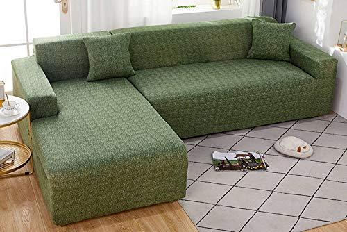 SLOUD Funda de sofá en Forma de L, Fundas de sofá elásticas, Funda de sofá, Protector de Muebles de poliéster en Forma de L, con 2 Fundas de Almohada-C-En Forma de l 3+3 plazas