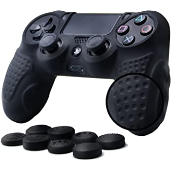 PS4 Controller Grip Skin Anti-Slip Silicone Case Cover for Sony Playstation 4 PS4/Slim/Pro Controller with 8 x FPS Pro Thumb Grips (Black)