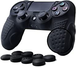 CHINFAI PS4 Controller DualShock 4 Skin Grip Anti-Slip Silicone Cover Protector Case for Sony PS4/PS4 Slim/PS4 Pro Controller with 8 Thumb Grips (Black)