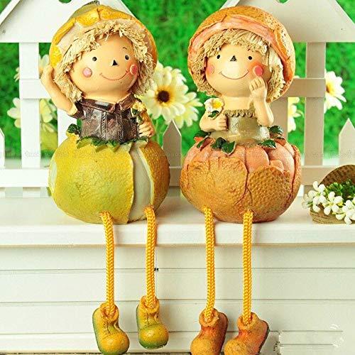 LBYLYH Estatua Adornos Decorativas del hogar Resina Pastoral Estilo Colgante Pie Naranja Muñeca Regalo de Boda Muebles para el hogar Estante de Pared Decoración