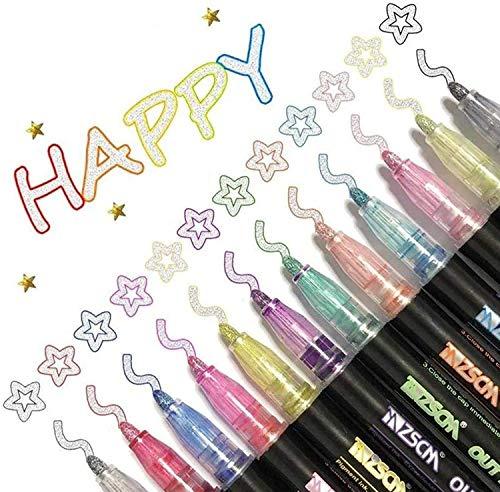 Farbstifte, Outline Stift, 12 Farben Double Line Outline Glitzer Stifte Farbstifte Stationery, Pen Glitzer Zweizeiliger, Outline Stift für Schreiben und Zeichnen von Geschenkkarten DIY Poster (12 PC)