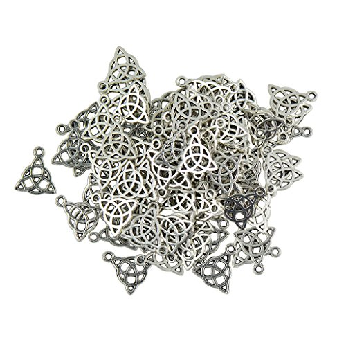 Dovewill 50 Pieces Zinc Alloy Tibetan Silver Witches Wicca Pagan Celtic Knot Pendants Charms for DIY