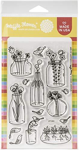 Waffle Flower Crafts Sello transparente 4X6 tarro HAPPI, Frascos de felicidad, talla única