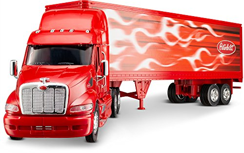Wheel Master Peterbilt Tractor Trailer 387 Play Toy Truck Vehicle for Kids 1/32 Die Cast Scale, Flame Design, with Functions, Pre Built Semi, Realistic Look and Openable Doors Great Gift for Children