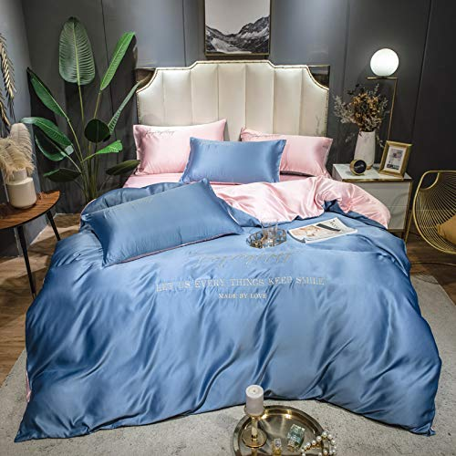 Juego de Ropa de Cama de Seda, Funda nórdica, Funda de Almohada Bordada, sábana de satén Color Claro Moderno Suave y cómodo, Azul Cielo (220 * 240 cm)