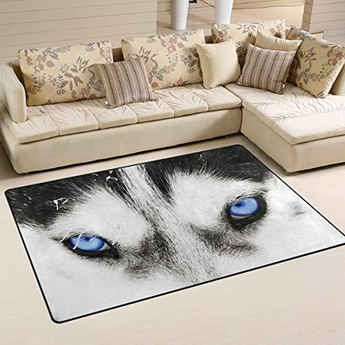 Alfombra antideslizante para decoración del hogar, elegante diseño de ojos azules de lobo para salón, dormitorio, felpudos de 152 x 99 cm