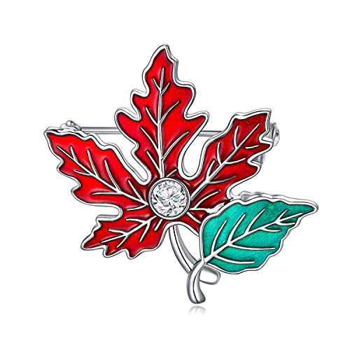 AOBOCO Brooch for Women Vintage, Maple Leaf Brooch with Austrian Crystal, 925 Sterling Silver Brooch Vintage Style Gifts for Mum Ladies