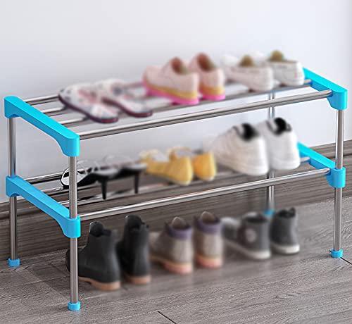 LYYJF Estante Zapatero, 2 estantes para 6 Pares de Zapatos, para Entrada, Sala de Estar, Dormitorio, Rosa y Azul,Azul