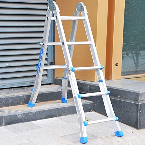 Escalera Extensible Telescópica Escalera Telescópica para Mantenimiento de Edificios Al Aire Libre/ Hogar Diario Industrial, Ligero Aluminio Escaleras Con Estructura en A/ Escaleras Rectas, 150 Kg