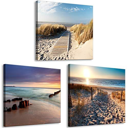 decomonkey Bilder Strand Meer 60x20 cm 3 Teilig Leinwandbilder Bild auf Leinwand Vlies Wandbild Kunstdruck Wanddeko Wand Wohnzimmer Wanddekoration Deko Natur Landschaft