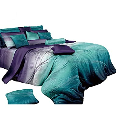 Swanson Beddings Twilight-P 3-Piece 100% Cotton Bedding Set: Duvet Cover and Two Pillow Shams (King)