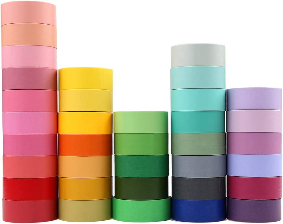 36 Roll Washi Tapes, Washi Masking Tapes Rainbow Color for DIY Journal Planners Scrapbooking Adhesive School Party Supplies