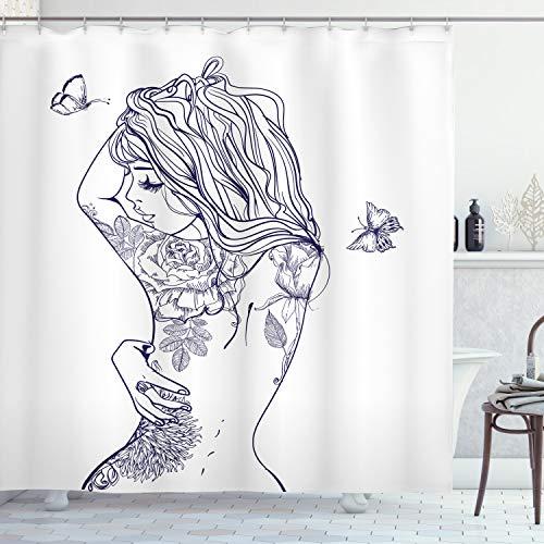 ABAKUHAUS lila Weiß Duschvorhang, Sexy Frau mit Blumen, mit 12 Ringe Set Wasserdicht Stielvoll Modern Farbfest & Schimmel Resistent, 175x180 cm, Dunkel Violett Weiß