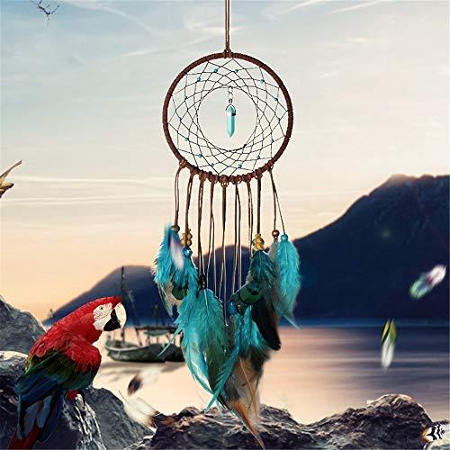Dremisland Forest Türkis Traumfänger – handgefertigt exquisite Federn Perlen Traumfänger für Kinder/Auto/Schlafzimmer – Traditionelle indische Kunst Wanddekoration Blau/Braun