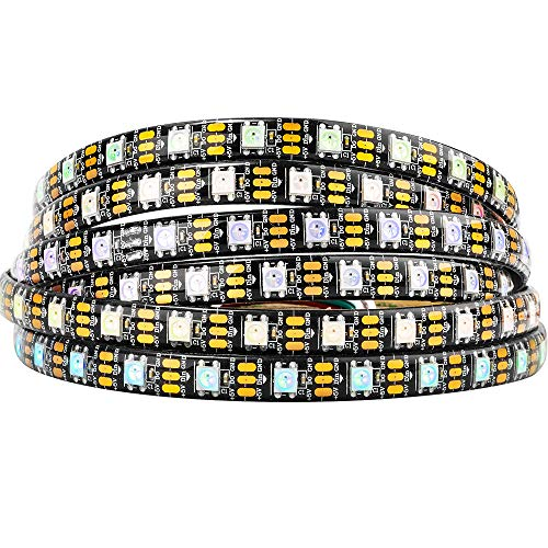 BTF-LIGHTING 16.4ft 5m WS2812b 60leds/pixels/m impermeable IP65 Negro PCB Flexible individualmente direccionable led tira Sueño en color DC5V