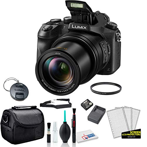 Panasonic Lumix DMC-FZ2500 20.1MP Digital Camera Bundle with Padded Carrying Case + LCD Screen Protectors + Cleaning Kit + More