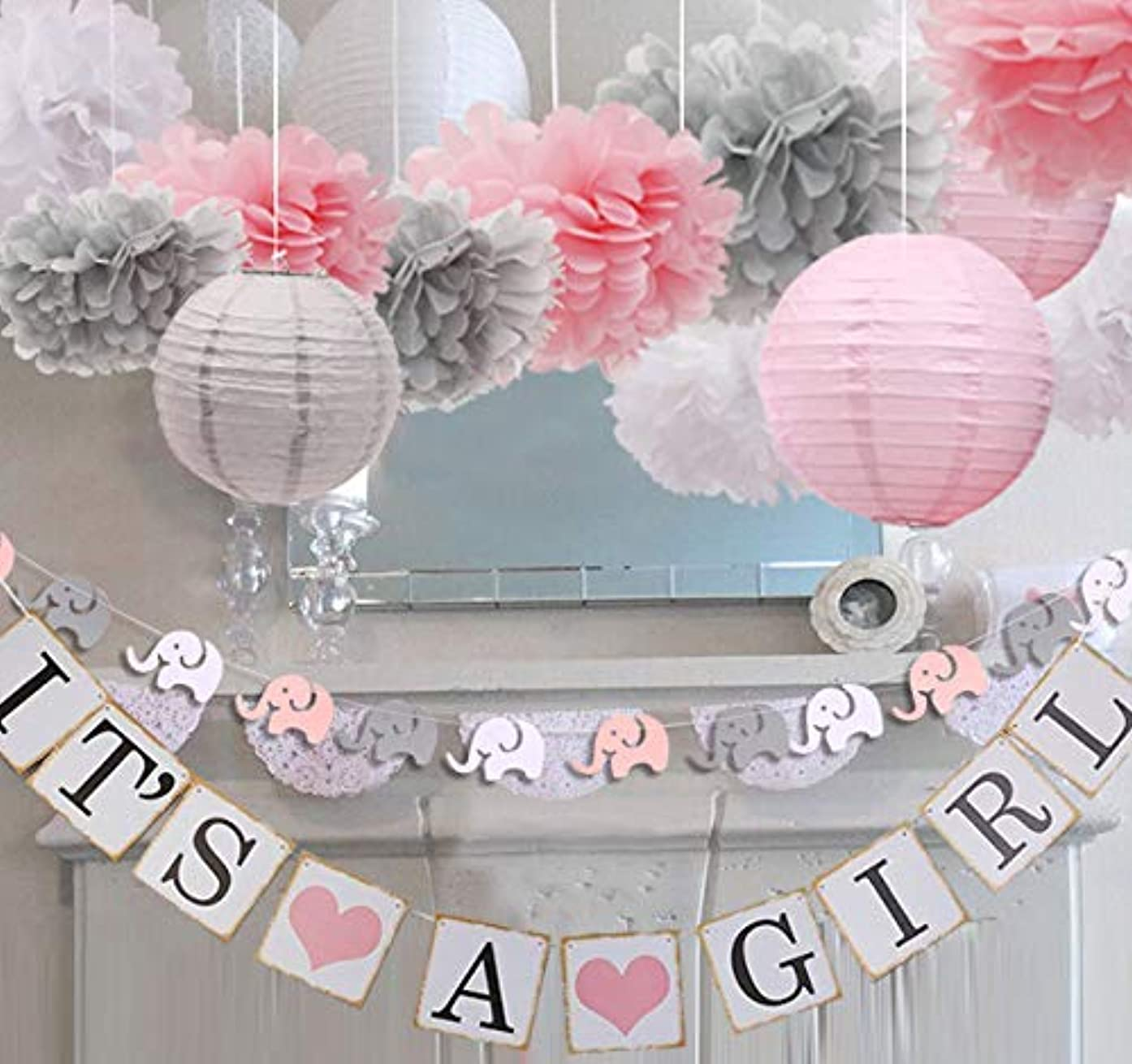 luckylibra Girl Baby Shower Decorations, It is a Girl Banners Elephant Garland & Paper Lantern Paper Flower Pom Poms (Pink White Grey)