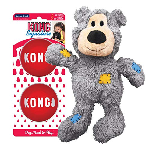 KONG - Wild Knots Bear and Signature Balls (2 Pack) - Rope Plush Toy and Squeak Balls - for Small Dogs
