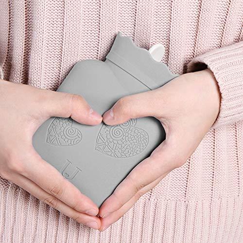 VINGVO Botella de Agua Caliente de Silicona, Color de la Bolsa de Agua Caliente de la Cubierta Tejida Opcional con la Cubierta Tejida para el Dormitorio para el hogar(Grey)