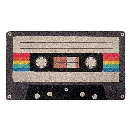 FISURA   Felpudo de Cassete Rectangular 60x40 cm Puerta de Entrada Divertido y Original, Fibra de Coco Natural, PVC Antideslizante