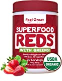 Feel Great Vitamin Co. Organic Superfood Reds Powder | Vitamin C, Probiotics & Greens | Supports Healthy Digestion, Gut Health, and a Strong Immune System | Gluten Free, Non-GMO, Vegan | 30 Servings