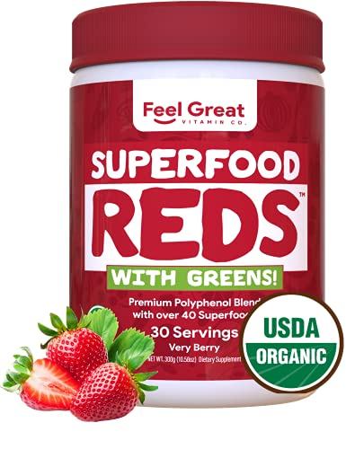 Feel Great Vitamin Co. Organic Superfood Reds Powder   Vitamin C, Probiotics & Greens   Supports Healthy Digestion, Gut Health, and a Strong Immune System   Gluten Free, Non-GMO, Vegan   30 Servings