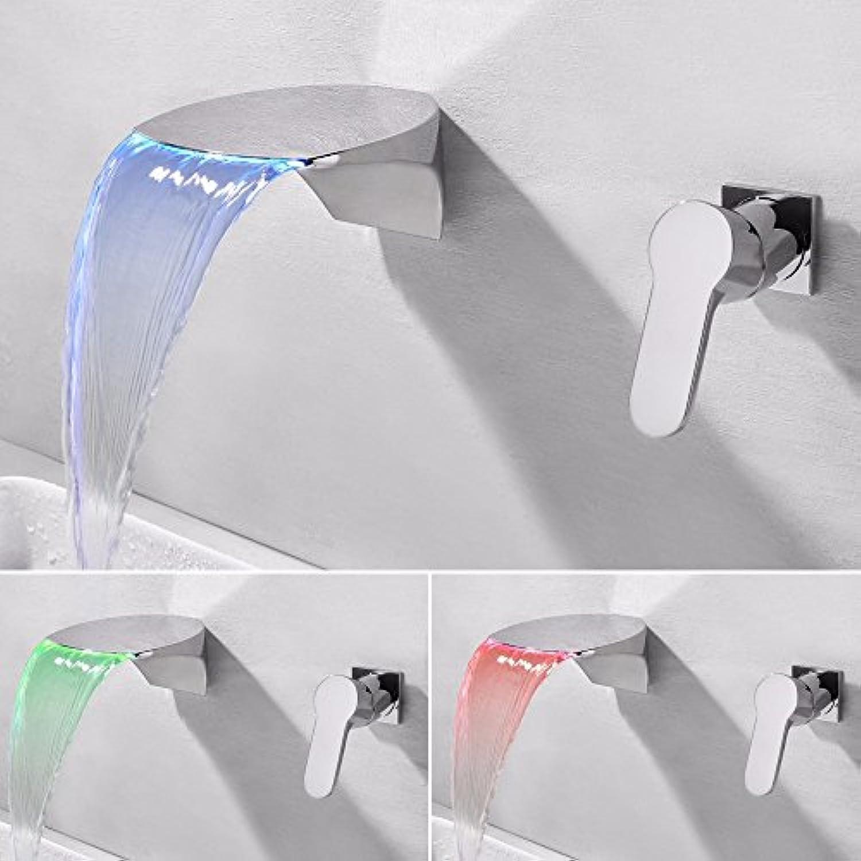 IJIAHOMIE Waschtischarmatur Badarmatur Wasserhahn Bad ,Wassersparfunktion,Wasserfall Wasserhahn, Alle Kupfer in die Wand verborgen LED hei und kalt Wasser Keramikventil Doppel-Loch einzigen Griff, LED-Modelle