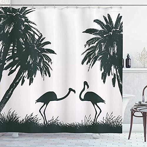 ASDAH Natuur Douchegordijn Flamingo Vogels en Palm Bomen in Miami Exotische Tropische Natuurlijke Landschap Artwork Doek Stof Badkamer Decor Set met Haken Pale Mauve Zwart 66 * 72in