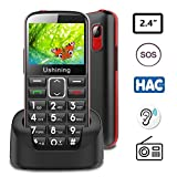Ushining Unlocked Senior Cell Phone 3G T Mobile Feature Phone Large Button Hearing Aids Compatible Easy-to-Use Basic Phone for The Elderly with Charging Dock(Black)