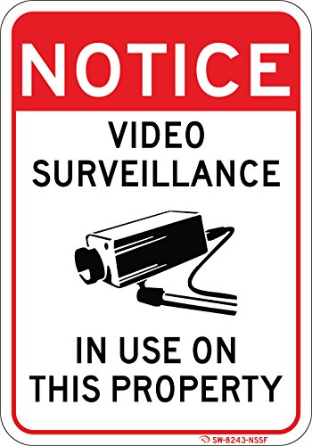 Notice Video Surveillance in USE ON Property Sign 7'x10' Commercial Aluminum. Clearly warns Everyone Their Actions are Being Recorded. Works in reducing Illegal Activities. Installs Anywhere