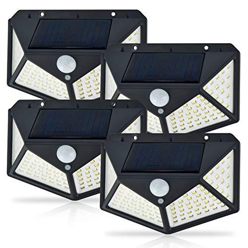 Solar Motion Sensor Security Lights Outdoor, 100 LED 3 Working Mode 270° Wide Angle Solar Wall Light IP65 Waterproof Solar Powered Lights for Garden, Yard, Front Door, Garage, Porch(4 Pack)