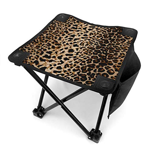 Brown Leopard Print Lightweight Portable Camping Stool Folding Chairs Outdoor Fold Up Chairs for Camping Fishing Hiking Gardening and Beach, Camping Seat with Carry Bag