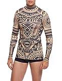 COOFANDY Mens Hip Hop Tattoo Tribal Maui Slim Nude Shirt, Blue, X-Large