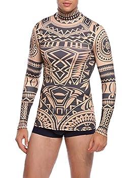 COOFANDY Mens Hip Hop Tattoo Tribal Maui Slim Nude Shirt Blue X-Large