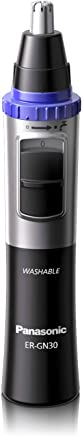Panasonic Nose Hair Trimmer and Ear Hair Trimmer ER-GN30-K, Men's Wet/Dry Trimmer with Vortex Cleaning System, Battery-Operated