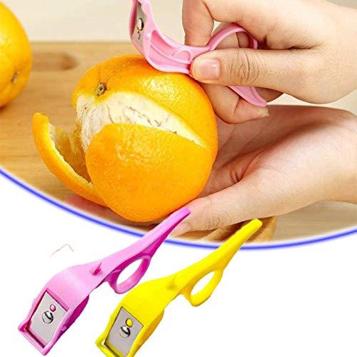ZURITI Fast Finger Ring Fruit Peeler, Finger Potato Peeler, Fruit and Vegetable Peelers, Hand Vegetable Peeler, Kitchen Gadgets for Peel Potato, Carrot, Cucumber and Fruit Pink+yellow