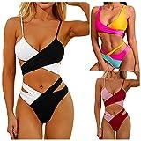 HuiBOYS Damen Bikini Set Push up Verstellbar Crossover Ties-up Neckholder Bikinioberteil Zweiteiliger Badeanzug Triangel Gedruckt Niedrige Taille Sport Bikinihose Strandkleidung
