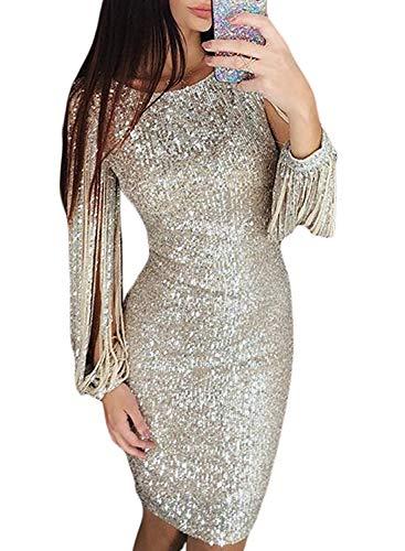 Minetom Damen Festlich Hochzeit Kleider Glänzend Pailletten Elegant Lang Abendkleid Langarm Quaste Cocktailkleid Maxikleid Partykleid B Silber DE 36