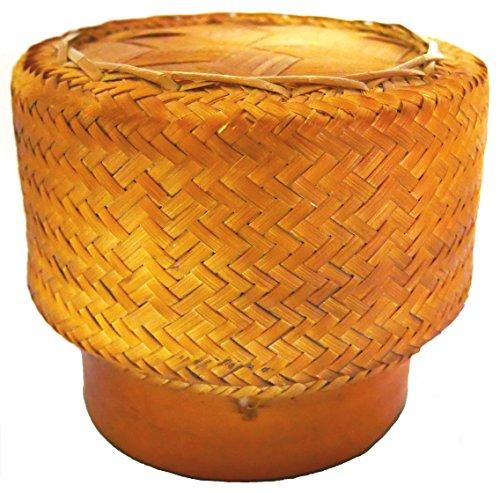 Thai Bambuskorb Reiskorb 14 x 12cm zum stilechten Garen und Servieren von Reis