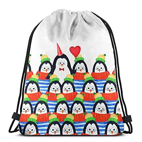 LREFON Bolsas con cordón para gimnasio Mochila Pingüinos en fila Mochila para...
