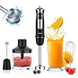 Acekool 800W Immersion Hand Blender, 12 Speed 5-in-1 Stainless Steel Stick Blender with Turbo Mode, BPA-Free 600ML Beaker, Milk Frother, Egg Whisk for Puree Infant Food, Smoothies, Sauces, Soups