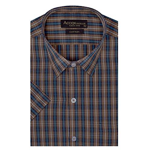 ACCOX Men's Half Sleeves Regular Fit Cotton Formal Checkred Shirts(GCR19)