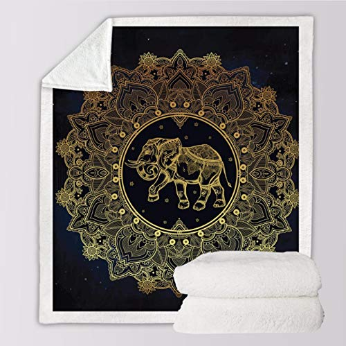 KX Sofa Cobija Franela Cama Manta, Decorativa Piel Sintética Resistencia A Las Arrugas Microfibra Cálida Acogedor Polar Algodón para Invierno Patrón de Oro Elefante,150x200cm