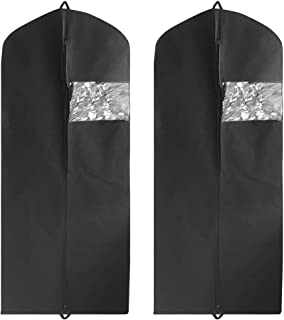 2 Pack Garment Bag Suit Bag with Two Handles for Storage and TravelDanziX Extra Long size 60 Breathable Bag Anti-Moth Protector Washable Suit Cover fit for All DressesSuitsCoats