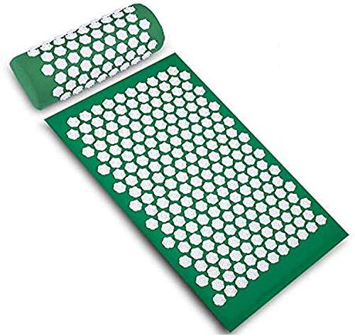 SKHE Conjunto de Estera de acupresión de Terapia de Bienestar, Ayuda a liberar Dolor y tensión Muscular, Conjunto de Masaje de acupuntura para Cuello, Espalda, Hombros, piernas 0224 (Color : Green)