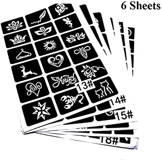 Xmasir Airbrush Glitter Tattoo Templates for Men/Women Body Art, Kids Temporary Tattoo Stencils Paper Kit Mixed 136 Sheets