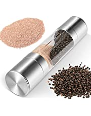 H HOME-MART Salt and Pepper Mill Grinder Set - 2 in 1 Brushed Stainless Steel Finish , Ceramic Mechanism Great Pepper Mill for Himalayan , Rock Salt, Pepper , Dried Herbs, Spices , The Best Gift for Kitchen
