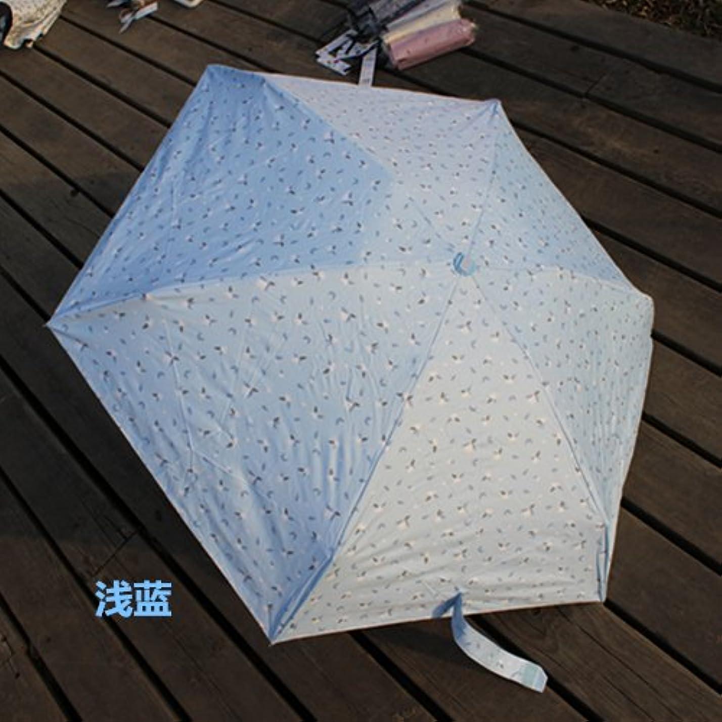 グリーンバック検体引き算CengSan じゅうはち新型5折りたたみ傘ゼロ透光超軽量扁形ポケット傘黒膠晒太陽傘ミニUVカット傘,水色