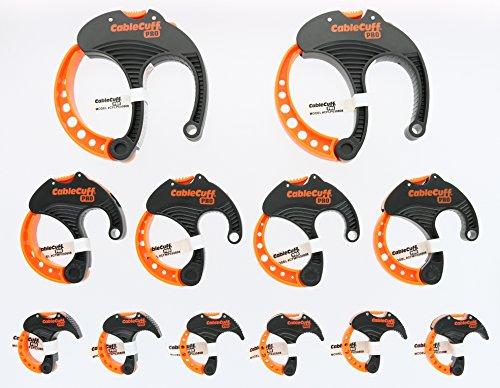 Preisvergleich Produktbild Cable Cuff PRO (12er Pack: 2x groß 3 Zoll,  4x mittel 2 Zoll,  6x klein 1 Zoll Durchmesser) einstellbar,  wiederverwendbar,  Kabelbinder ersetzen für Verlängerungskabel oder Elektronik
